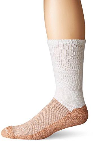 Copper Sole Mens Pro Therapy Cupron Crew Socks, White, Sock Size:10-13/Shoe Size: 6-12