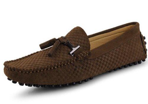 Happyshop (tm) Heren Mocassin Loafers Casual Suede Lederen Raceschoenen Comfort Instapper Kwastje Loafer Camel