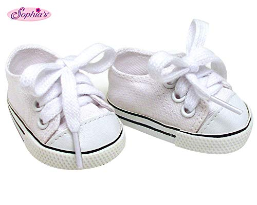 (White Doll Sneakers fit American Girl Dolls, 18 Inch Doll White Shoes in Canvas)
