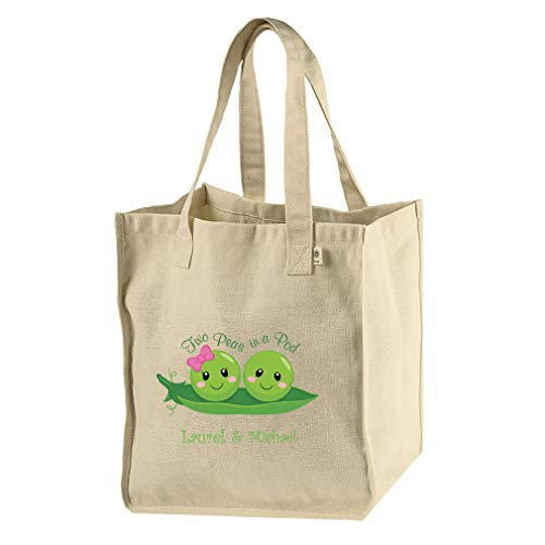 Personalized Custom Text Two Peas in a Pod Hemp/Cotton Canvas Market Bag -