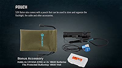 Olight S2R 1020 Lumen Rechargeable LED Flashlight with Magnetic Charger, Olight 3200mAh battery, and LumenTac Battery Organizer