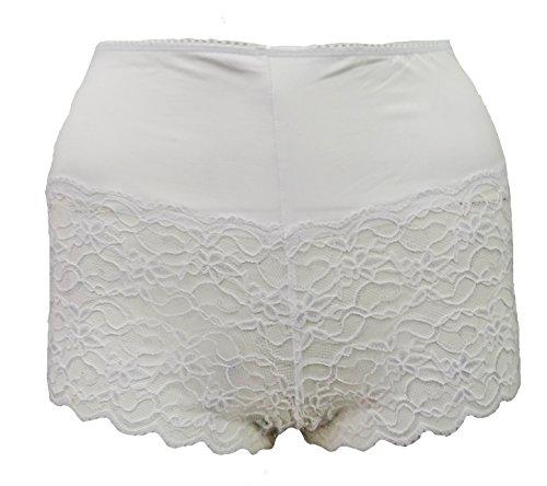 Tilly Shoes–Calzoncillos de encaje francés Braguitas Calzoncillos Pantalones Cortos Ropa Interior Plus Size blanco
