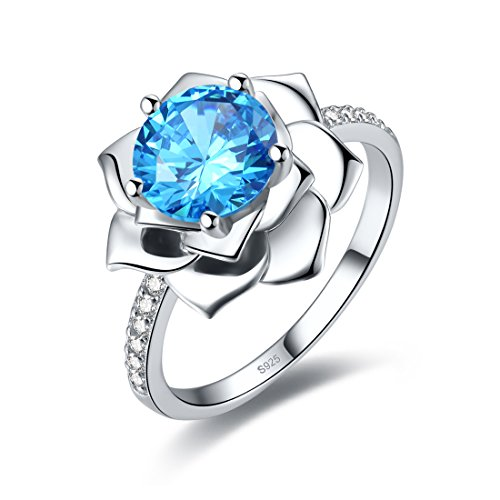 Merthus 2.85ct Blue Topaz Lotus Flower Blossom Sterling Silver Promise Engagement Ring