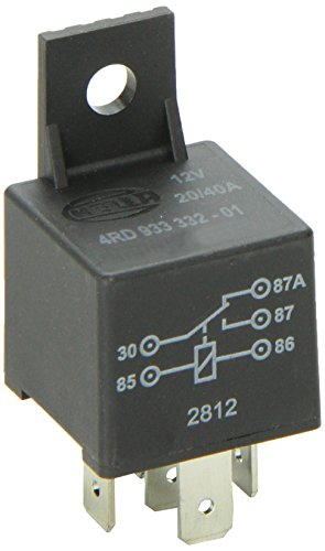 HELLA 933332011 12V 20/40A SPDT Relay with Bracket , Black