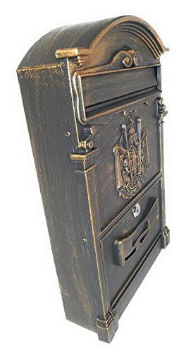 - Wall Mount Mailbox – Aluminum Mailbox – Locking Mailbox - Includes Lock and Key – Vintage Style with Crest Design (10