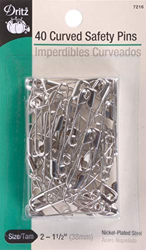 Quilting Safety Pins - Dritz size 2 Curved Safety Pins are just the right angle for easy penetration of quilt layers with no shifting. Size 2 is recommended for high loft batting. Nickel-plated steel, 40 Ct.