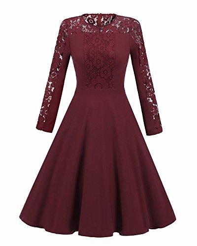 XIU*RONG Un Vestido De Mujer Y Vestido Encaje Claret