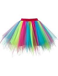 cb522ec8e Womens Rainbow Puffy Tutu Layered Tulle Petticoat Skirt for Party