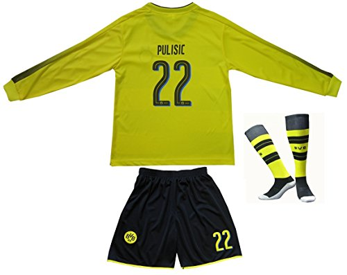 d2563bce7dd 2017/2018 Borrusia Dortmund BVB Home #22 Christian PULISIC Long Sleeve  Football Futbol Soccer