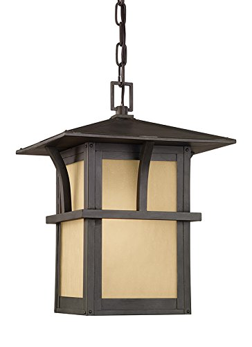 Sea Gull Lighting 60880-51 Medford Lakes 1 Light Outdoor Hanging Lantern in Statuary Bronze with Etched Hammered with Light Amber - Medford Stores In