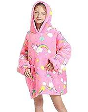 Hoodie Blanket Sweatshirt Oversized Warm Fluffle Blanket Giant Hoodie and Huge Pocket for Boys Girls One Size Fits All