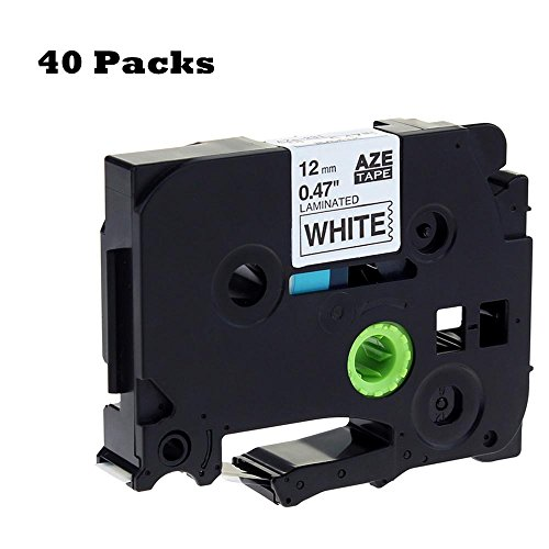 40 Pcak Replace TZe-231 TZ-231 Brother Black on White P-Touch Label Tape, Standard Laminated 1/2'' X 26.2'(12mm x 8m) Compatible for PT H100 H110 D200 D210 D400AD D600 P700 1290 2430PC Label Maker etc. by MarkDomain