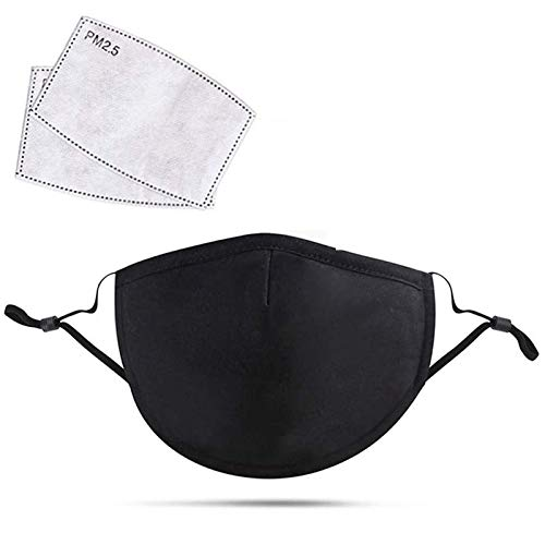 Unisex Breathable Reusable & Washable Cotton Face Mouth Nose Mask and PM 2.5 Filters (5 x Masks)