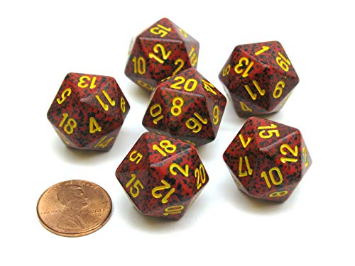 Chessex Speckled 20 Sided D20 Dice, 6 Pieces - Mercury