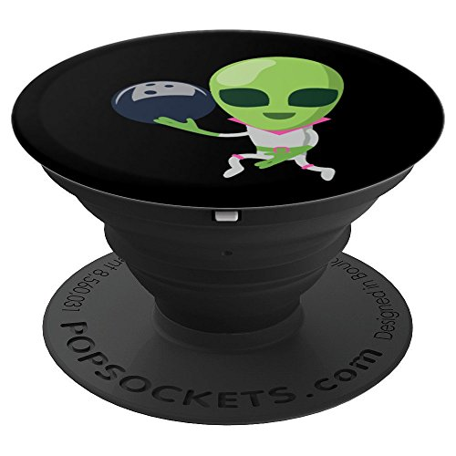 Funny Alien Bowling Spooky Halloween Funny Gift Grip - PopSockets Grip and Stand for Phones and Tablets ()