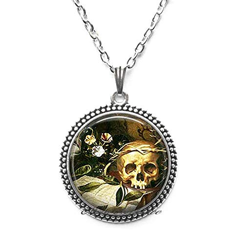 Hallow's Eve Pendant,Halloween Necklace Halloween Pendant Samhain Jewelry Wiccan Jewelry Goth Necklace Skull Necklace,Fashion Jewelry,for her Birthday,Photo Jewelry Glass -