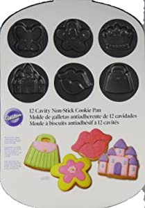 Wilton 12 Cavity Non-Stick Cookie Pan Purse Flower Lips Castle