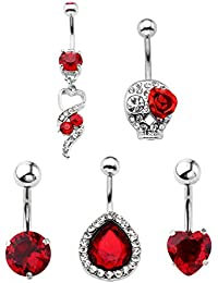 5pcs 14G Stainless Steel Belly Button Rings Dangle Bar Jewelry Set, with Gift Bag