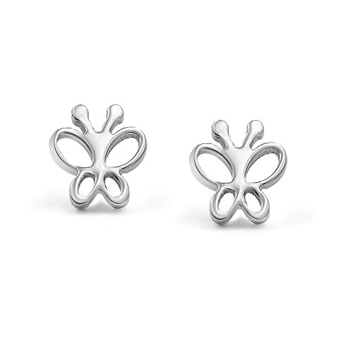 Price comparison product image 316L Surgical Stainless Steel Butterfly Safety Screwback Baby Girls Stud Earrings Studs, 8mm