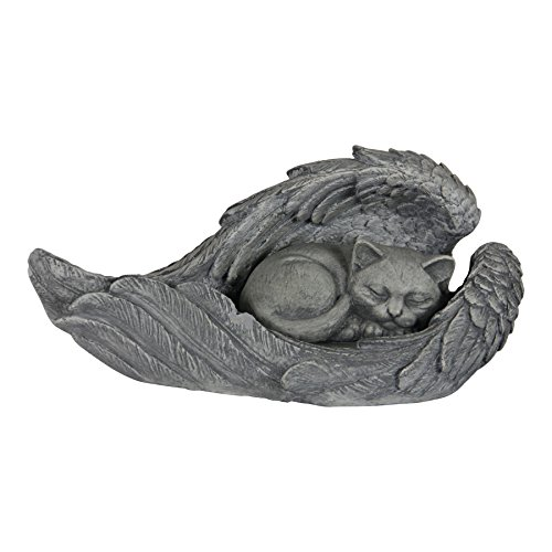 - Exhart Sleeping Kitten in Angel Wings Memorial Statue - Hand-Painted Resin Statue of Cat Sleeping Inside Angel Wings - Pet Tombstone Garden Decor - Best as Memorial Marker for Deceased Pet Cat