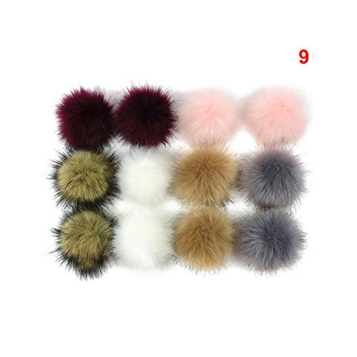 12Pcs/Lot 8cm Artificial Rabbit Fur Keychain Women Car Bag Key Ring Fluffy Faux Fox Fur Ball Key Chain Pompom,P9 from Meidly