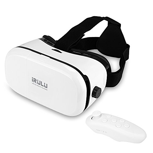 iRULU 3D Virtual Reality VR Glasses VR Headset with Controller for Movies Games Compatible with Android IOS and 4.0-6.0 inches Smartphones White by iRULU