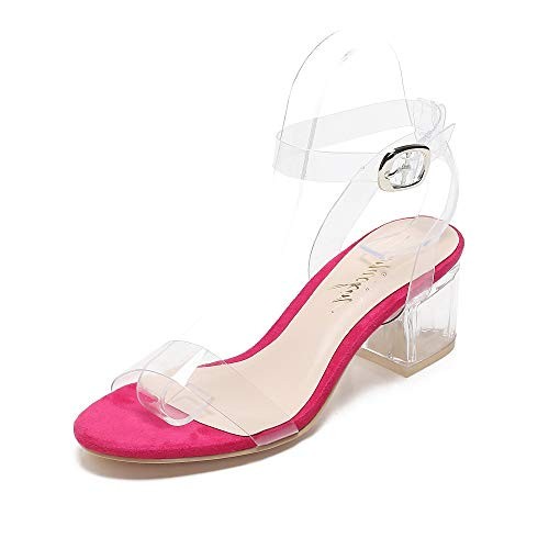 Mackin Girl Sandal G547-1 Transparent TPU Lucite Ankle Strappy Block Chunky High Heel Open Toe Sandals Dress Pump (8.5, Fuschia)