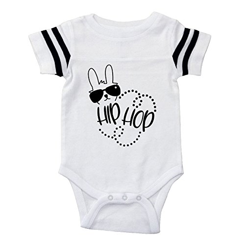 Mashed Clothing Unisex-Baby - Hip Hop (Bunny With Shades and Dots) Easter - Football Style Baby Bodysuit (White, 18 Months) by Mashed Clothing