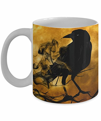 Raven Crow Coffee Mug, White, 11 oz - Unique Gifts By ()