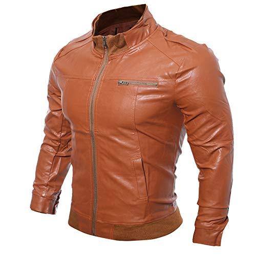 Da Casual Elegante Marrone Autunno Giacca Inverno Cappotti Pelle Uomo Elecenty Moto Top Outwear Sintetica Chiaro In Per cq5IWt4S4