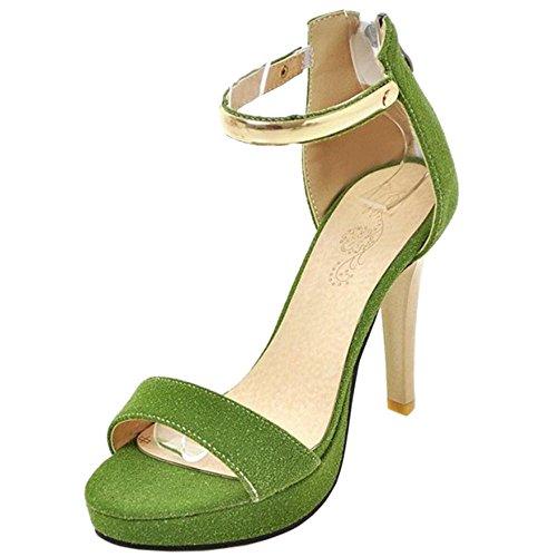TAOFFEN Women High Heel Sandals Shoes Green FdeV4PSk
