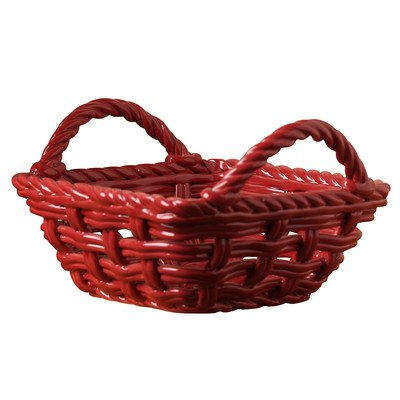 9 in. Square Hand Woven Serving Basket with Handles - Ceramic red