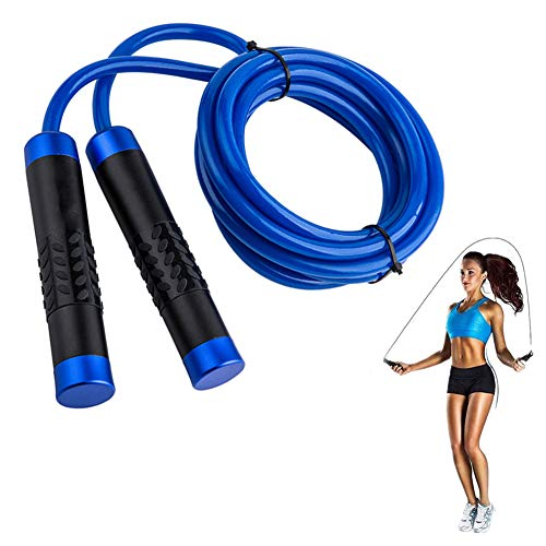 WYQWANLJX Skipping Rope, Speed Jump Rope with Anti-Slip Handle,Professional Weight-Bearing Jump Rope Bearing Adjustable Aluminum Handle, Thick Skipping Rope (Jump Rope For 10 Minutes Calories Burned)