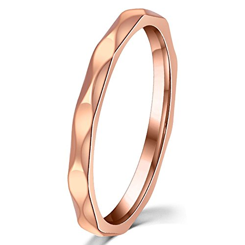 Chocolate Stainless Steel Ring - Fashion Month Womens 2mm Wave Prismatic Pattern Rose Gold Ring Engagement Wedding Lady Finger Thin Stainless Steel Band Size 7