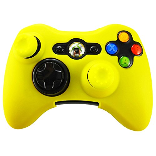 my case diy store Soft Silicone Skin for Xbox 360 Controller Set(Yellow  Skin X 1 + Thumb Grip X 2)-Yellow