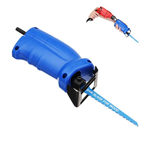 Price comparison product image Portable Reciprocating Saw Adapter Changed Electric Drill Into Reciprocating Saw - Power Tool Parts Drill Attachment - 1 x Portable Reciprocating Saw Adapter,  3 x Reciprocating Saw Blades