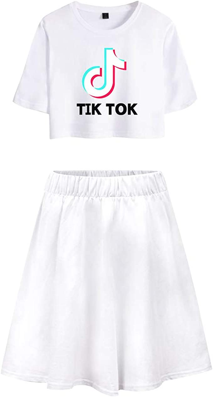 Camiseta y Falda TIK TOK Adolescente Chica Camiseta de Manga Corta ...