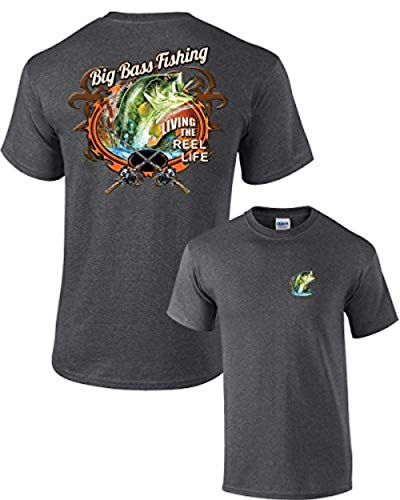 Fishing T-Shirt Big Bass Fishing-HeatherGray-XXL