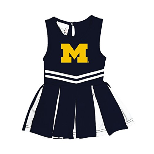 Wolverines Michigan Applique - Michigan Wolverines NCAA Newborn Infant Baby Cheerleader Bodysuit Dress (0-3 Months)