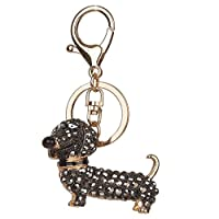 Abicial Bling Dog Dachshund Keychain Handbag Purse Pendant Car Holder Key Ring Jewelry Black
