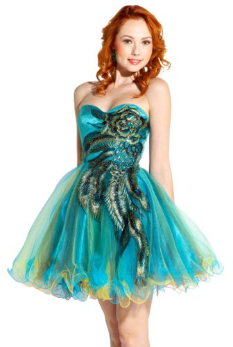4d59b9c5677 ... Peacock Embroidered Prom Dress ...