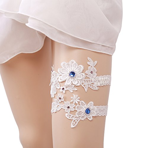 Minsto Bridal Ivory Floral Wedding Lace Retro Garters for Bride (J034) ()