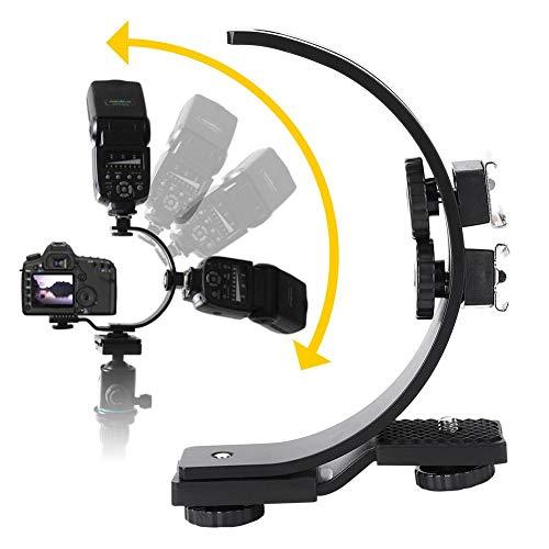 C-Shape Dual Hot Shoes Flash Lamp Mount Holder Bracket for DV Cameras Camcorders DSLR Cameras