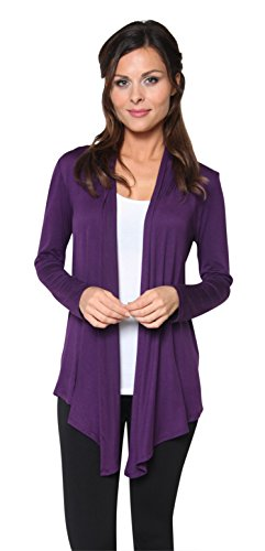 Free to Live Women's Light Weight Open Front Cardigan Sweater Made in USA (Large, Purple) -