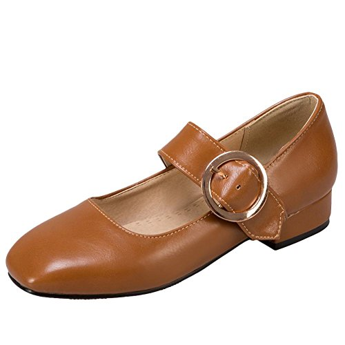 Charm Foot Womens Vintage Low Heel Square Toes Buckle Mary Janes Shoes Yellow Brown CpI7hcWi7T
