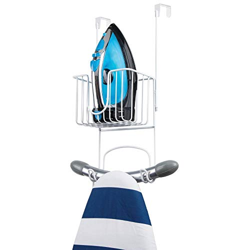 (mDesign Metal Wire Over Door Hanging Ironing Board Holder with Small Storage Basket - Organizer Holds Iron, Board, Spray Bottles, Starch, Fabric Refresher - for Laundry, Utility Room, Closet - White)