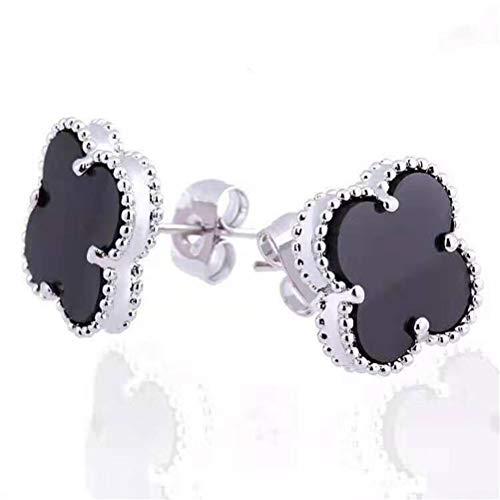Gold Plated Flower Charm - Women Black Onyx 18K Gold Plated Four Clover Charm Stud Earrings/Leaf Clover Stud Earrings,925 Sterling Silver 4 Color Flower Shape Fashion Stud Earrings (Black-white gold)