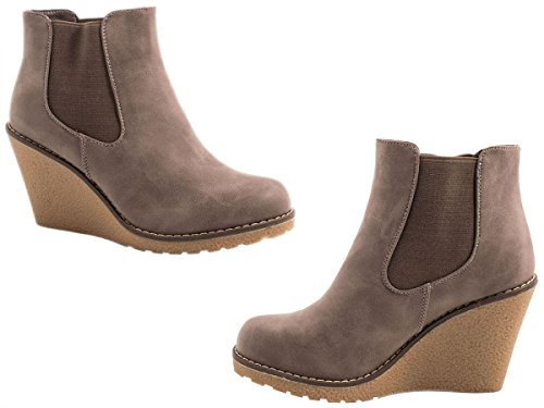 Damen Stiefel Leicht Gefüttert Stiefeletten Keilabsatz Boots ST188 Schlupfstiefel High Heels (39, Schwarz)