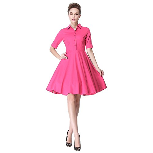 Pin Up Dresses For Sale (Heroecol Vintage 1950s 50s Dress Style Retro Rockabiily Cocktail PoloNeck M PK)