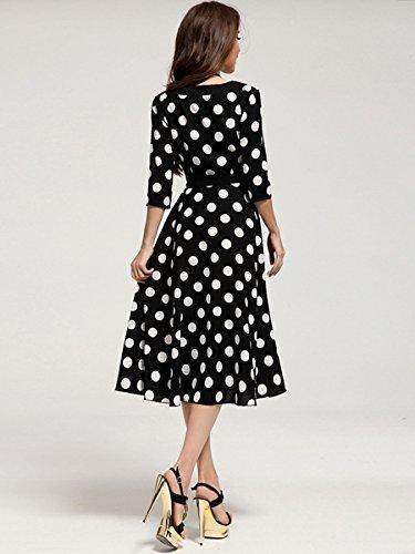 Elegant Slimming Half Sleeve Round Collar Black Polka Dot Dress L Black&White
